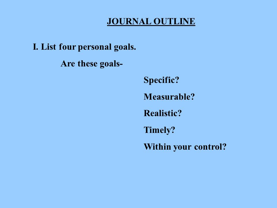 TEACHER PAGE OBJECTIVES: 1. Define the term Goal .