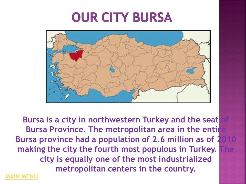 Bursa is a city in northwestern Turkey and the seat of Bursa Province.