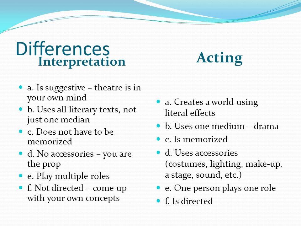 Differences Interpretation Acting a. Is suggestive – theatre is in your own mind b.