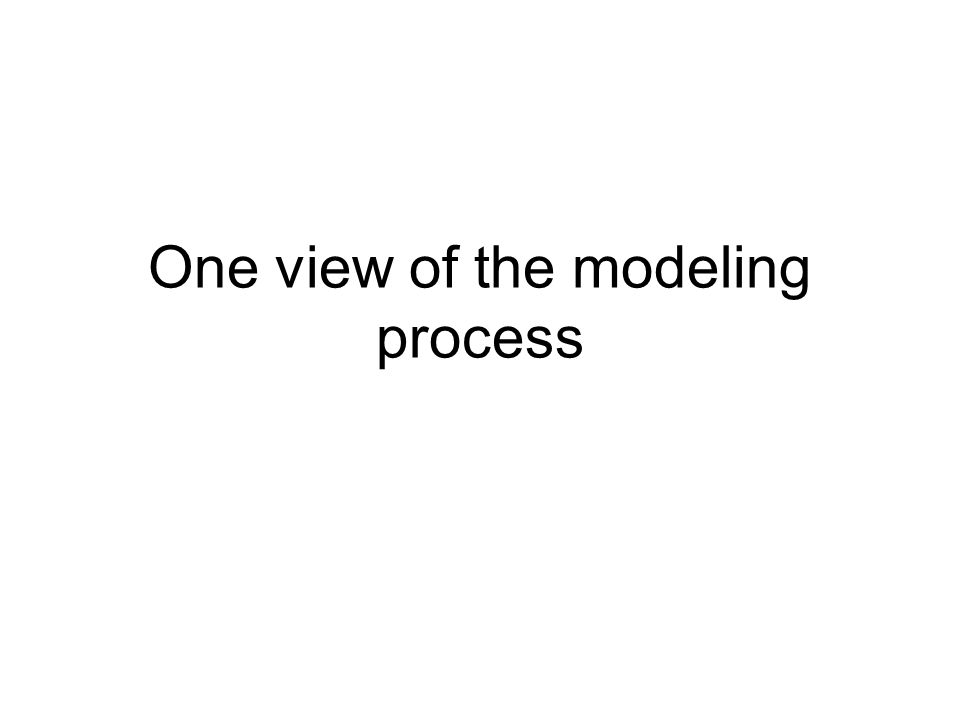 One view of the modeling process