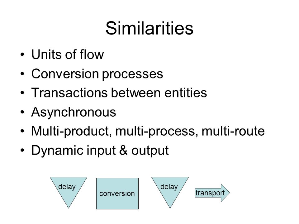 Similarities Units of flow Conversion processes Transactions between entities Asynchronous Multi-product, multi-process, multi-route Dynamic input & output transport conversion delay