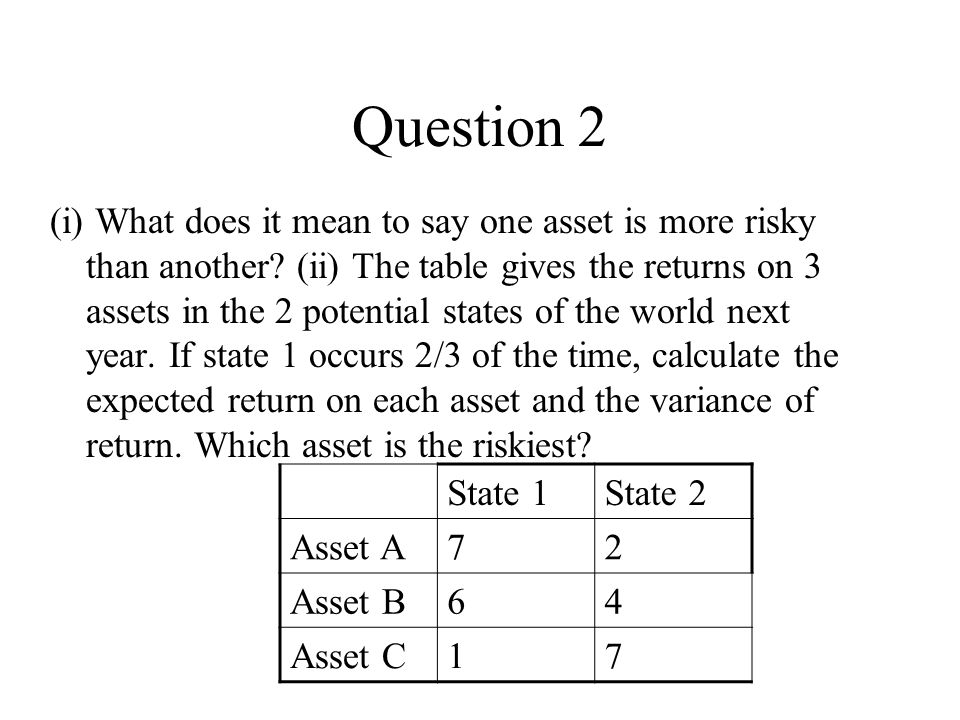 Question 2 (i) What does it mean to say one asset is more risky than another.