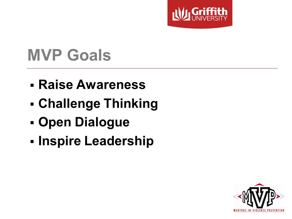 MVP Goals  Raise Awareness  Challenge Thinking  Open Dialogue  Inspire Leadership