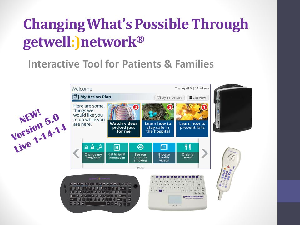 Changing What's Possible Through getwell:)network ® Interactive Tool for Patients & Families NEW.