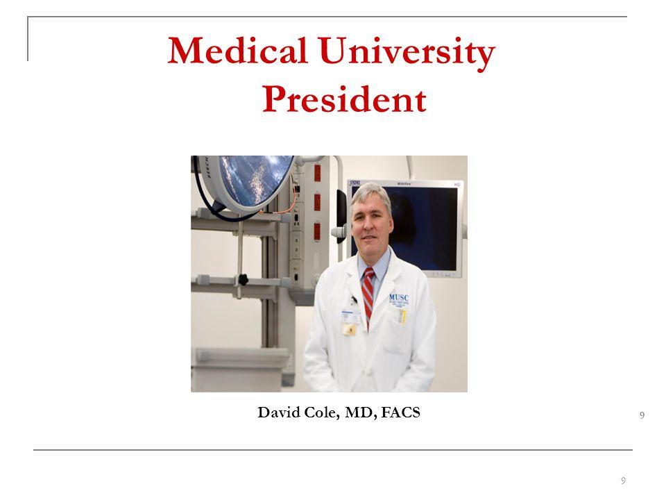 Medical University President David Cole, MD, FACS 9 9