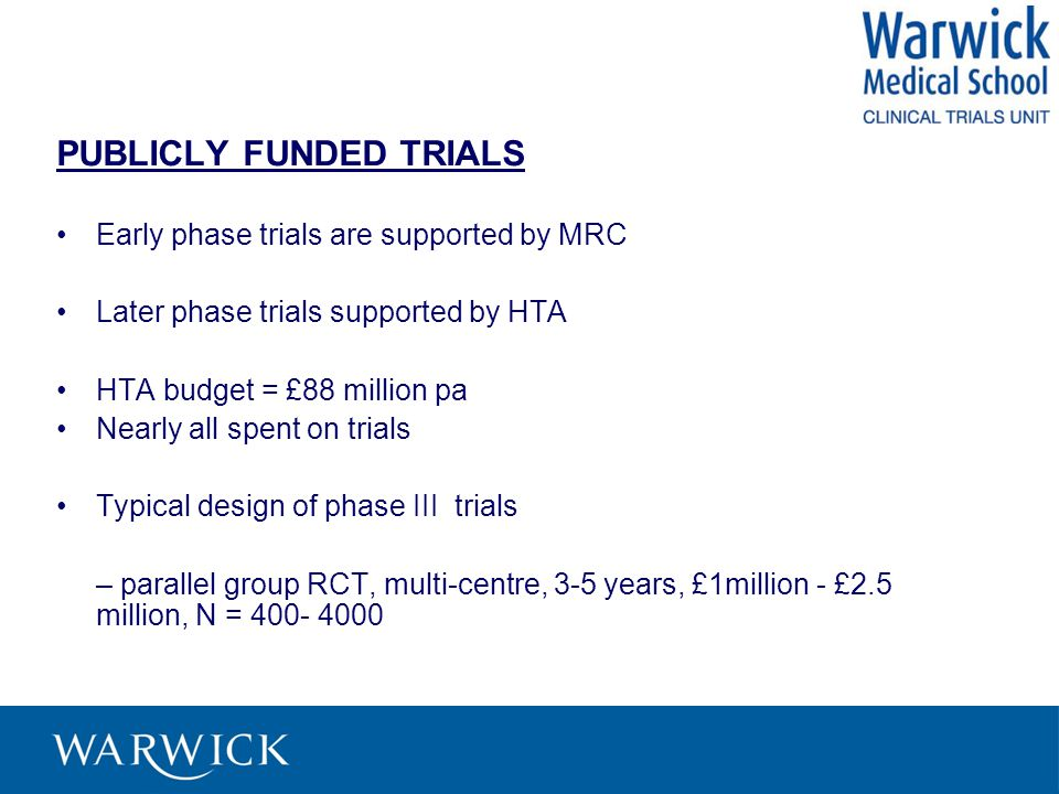 PUBLICLY FUNDED TRIALS Early phase trials are supported by MRC Later phase trials supported by HTA HTA budget = £88 million pa Nearly all spent on trials Typical design of phase III trials – parallel group RCT, multi-centre, 3-5 years, £1million - £2.5 million, N = 400- 4000
