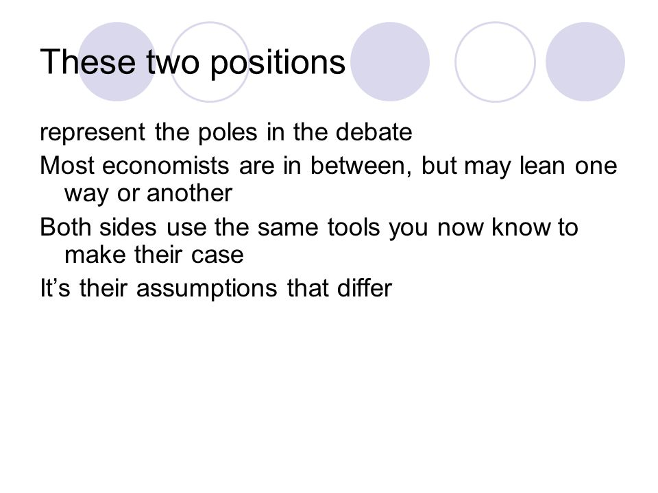 These two positions represent the poles in the debate Most economists are in between, but may lean one way or another Both sides use the same tools you now know to make their case It's their assumptions that differ