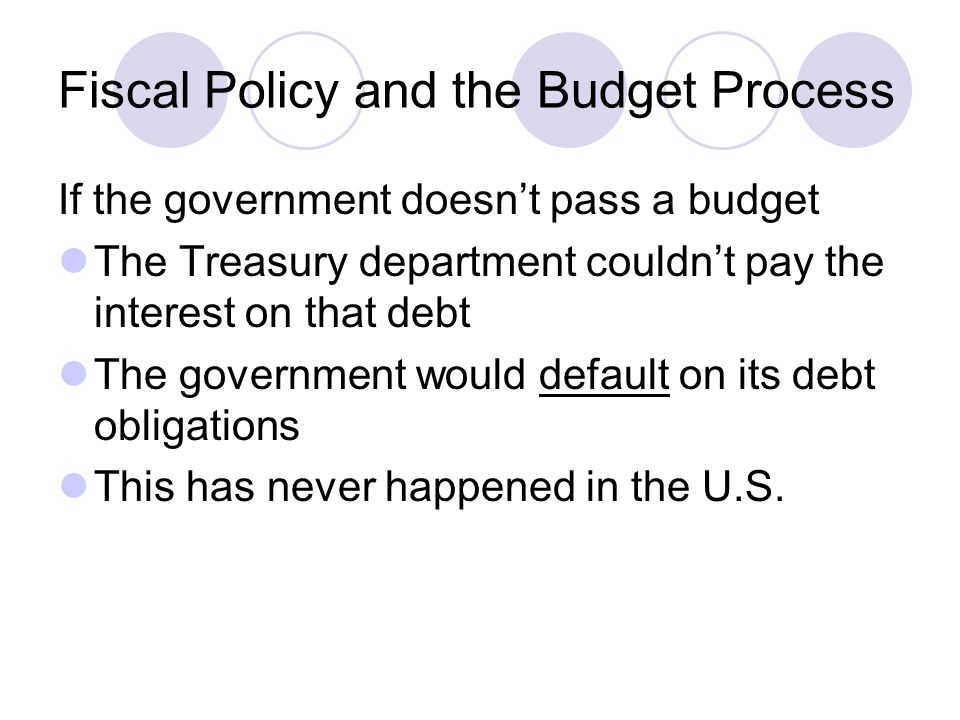 Fiscal Policy and the Budget Process If the government doesn't pass a budget The Treasury department couldn't pay the interest on that debt The government would default on its debt obligations This has never happened in the U.S.