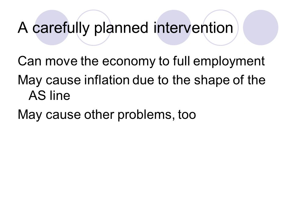 A carefully planned intervention Can move the economy to full employment May cause inflation due to the shape of the AS line May cause other problems, too