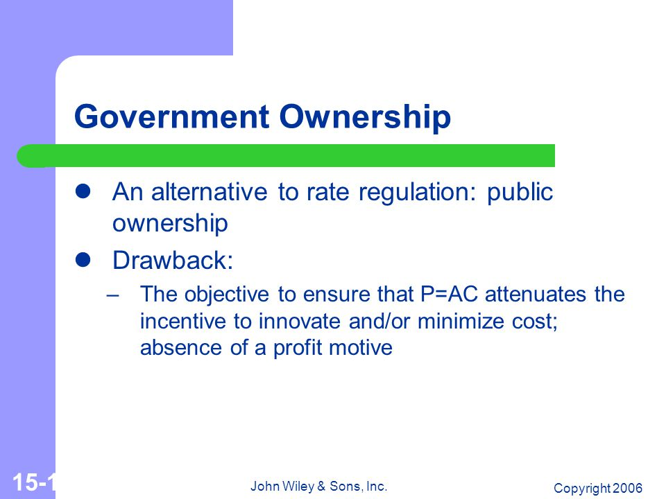 Copyright 2006 John Wiley & Sons, Inc. 15-11 Government Ownership An alternative to rate regulation: public ownership Drawback: –The objective to ensu