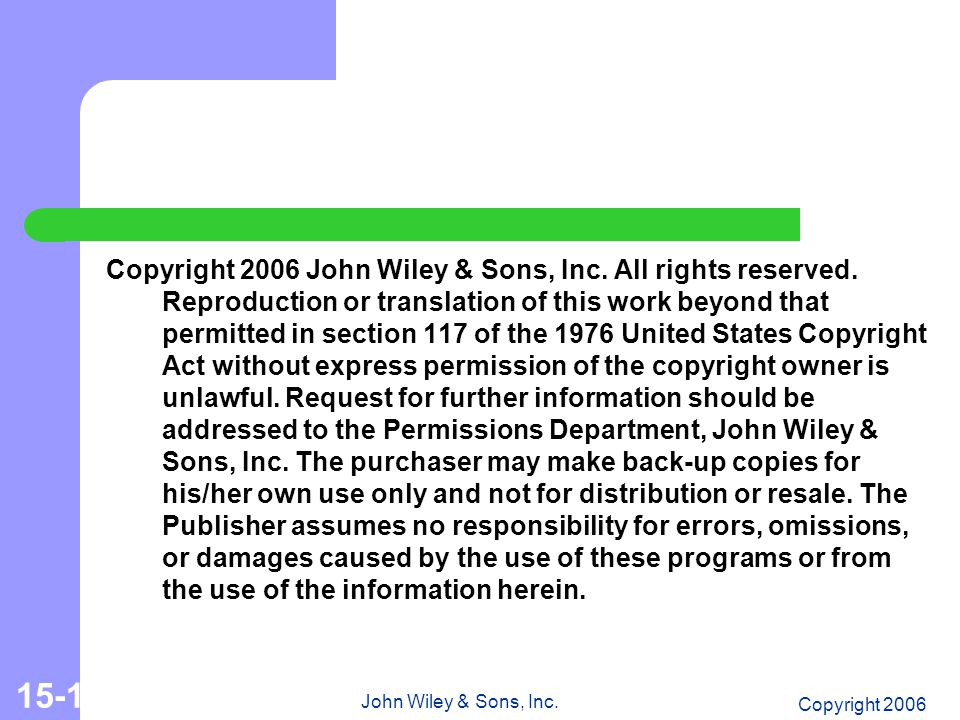 Copyright 2006 John Wiley & Sons, Inc. 15-15 Copyright 2006 John Wiley & Sons, Inc.