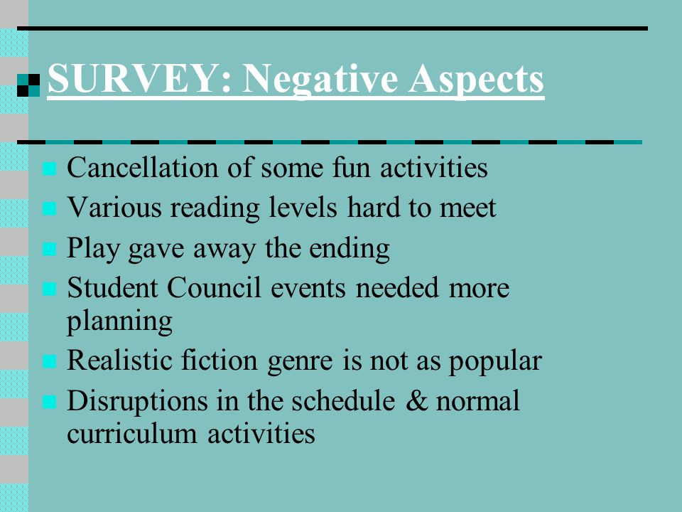 SURVEY: Negative Aspects Cancellation of some fun activities Various reading levels hard to meet Play gave away the ending Student Council events need