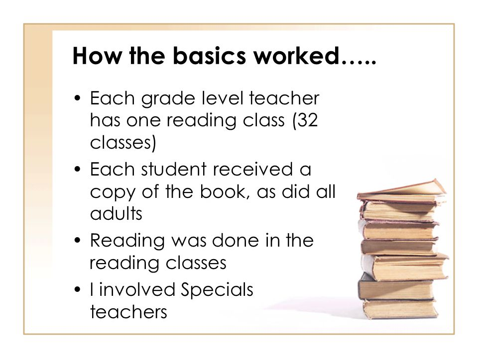 How the basics worked….. Each grade level teacher has one reading class (32 classes) Each student received a copy of the book, as did all adults Readi