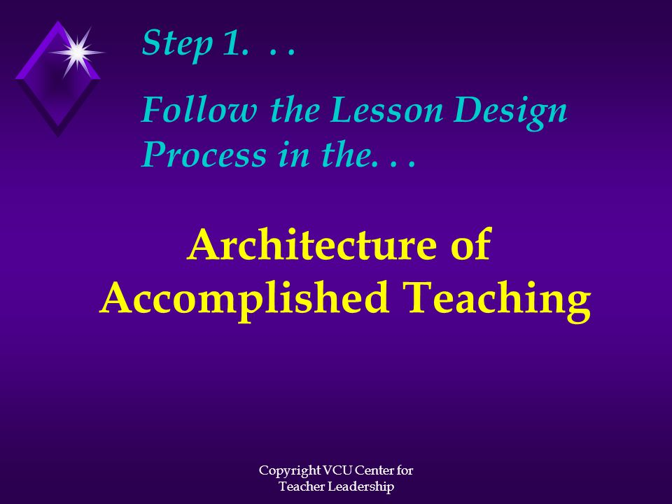 Copyright VCU Center for Teacher Leadership Step 1... Follow the Lesson Design Process in the... Architecture of Accomplished Teaching