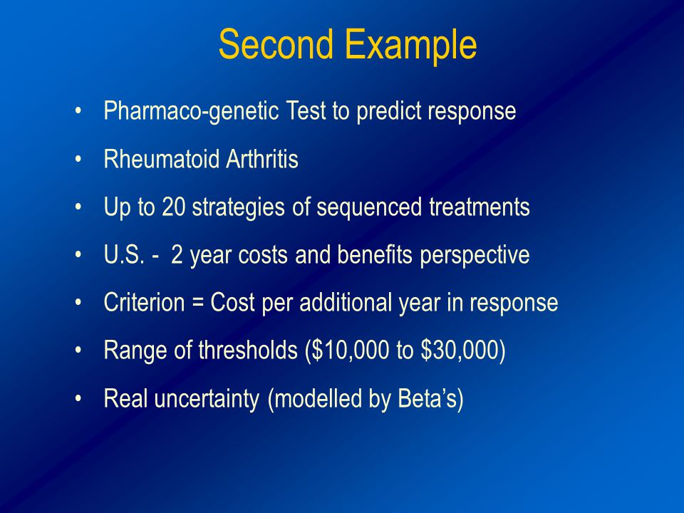 Second Example Pharmaco-genetic Test to predict response Rheumatoid Arthritis Up to 20 strategies of sequenced treatments U.S.