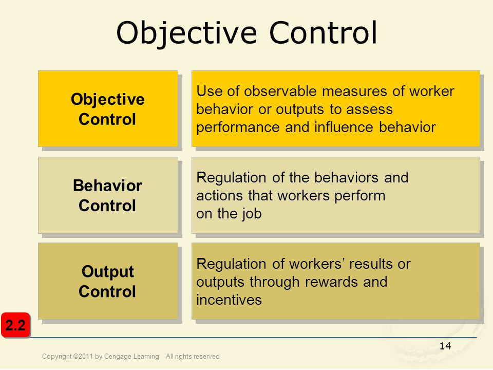 Copyright ©2011 by Cengage Learning. All rights reserved 14 Objective Control Use of observable measures of worker behavior or outputs to assess perfo