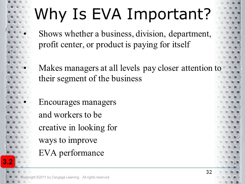 Copyright ©2011 by Cengage Learning. All rights reserved 32 Why Is EVA Important? Shows whether a business, division, department, profit center, or pr