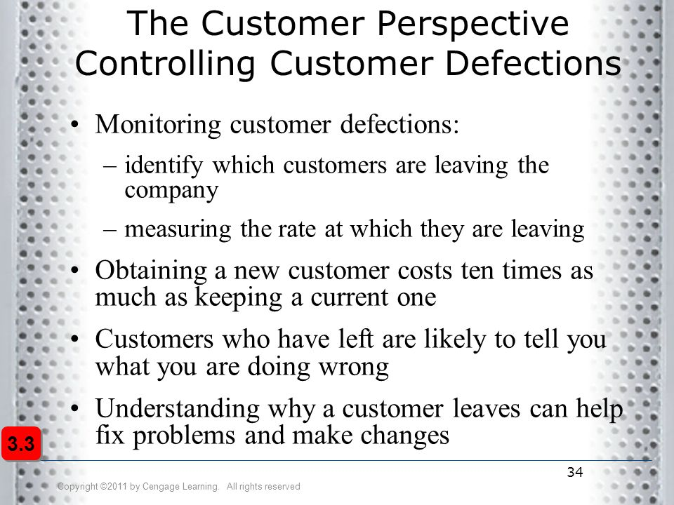 Copyright ©2011 by Cengage Learning. All rights reserved 34 The Customer Perspective Controlling Customer Defections Monitoring customer defections: –