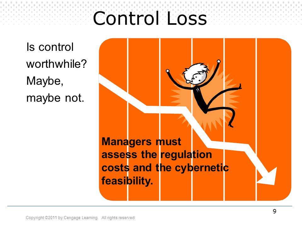 Copyright ©2011 by Cengage Learning. All rights reserved 9 Control Loss Is control worthwhile? Maybe, maybe not. Managers must assess the regulation c