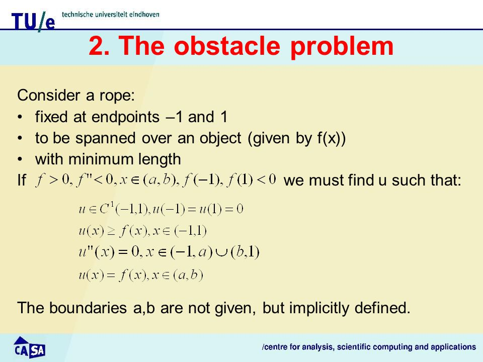 2. The obstacle problem Consider a rope: fixed at endpoints –1 and 1 to be spanned over an object (given by f(x)) with minimum length If we must find