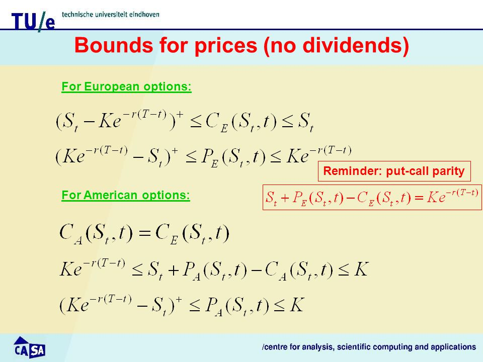 Bounds for prices (no dividends) For American options: For European options: Reminder: put-call parity