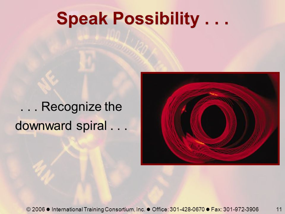 © 2006 International Training Consortium, Inc. Office: 301-428-0670 Fax: 301-972-390611 Speak Possibility...... Recognize the downward spiral...