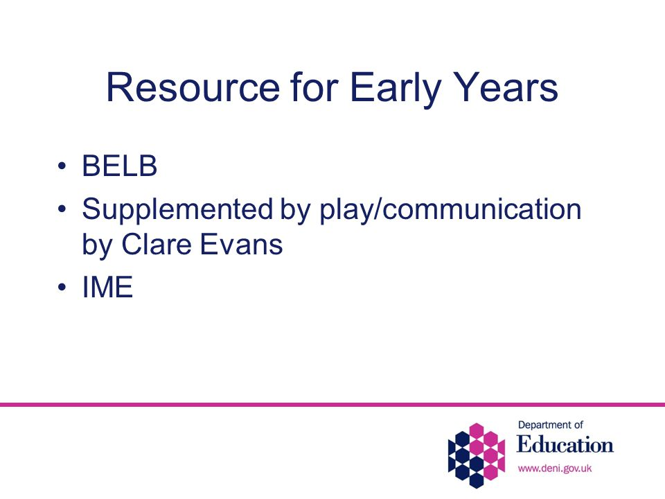 Resource for Early Years BELB Supplemented by play/communication by Clare Evans IME