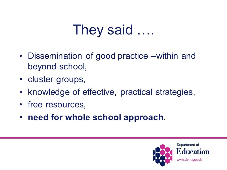 They said …. Dissemination of good practice –within and beyond school, cluster groups, knowledge of effective, practical strategies, free resources, n