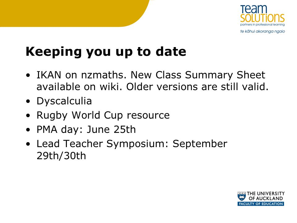 Keeping you up to date IKAN on nzmaths. New Class Summary Sheet available on wiki.