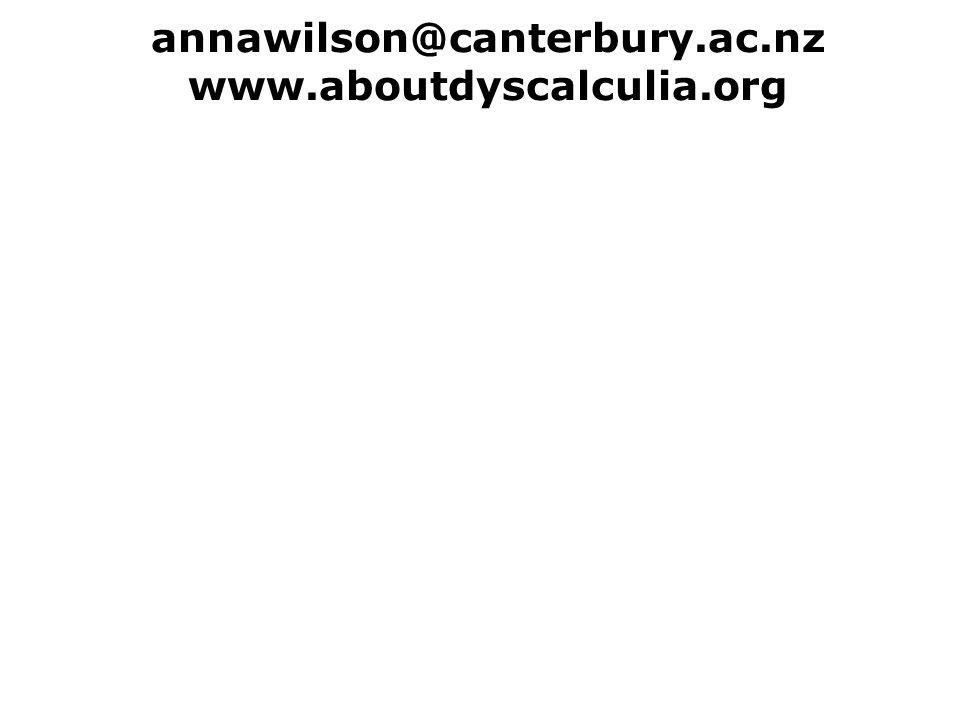 annawilson@canterbury.ac.nz www.aboutdyscalculia.org