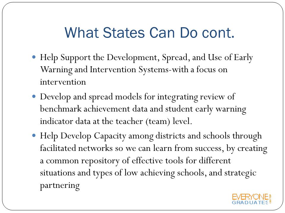 What States Can Do cont.