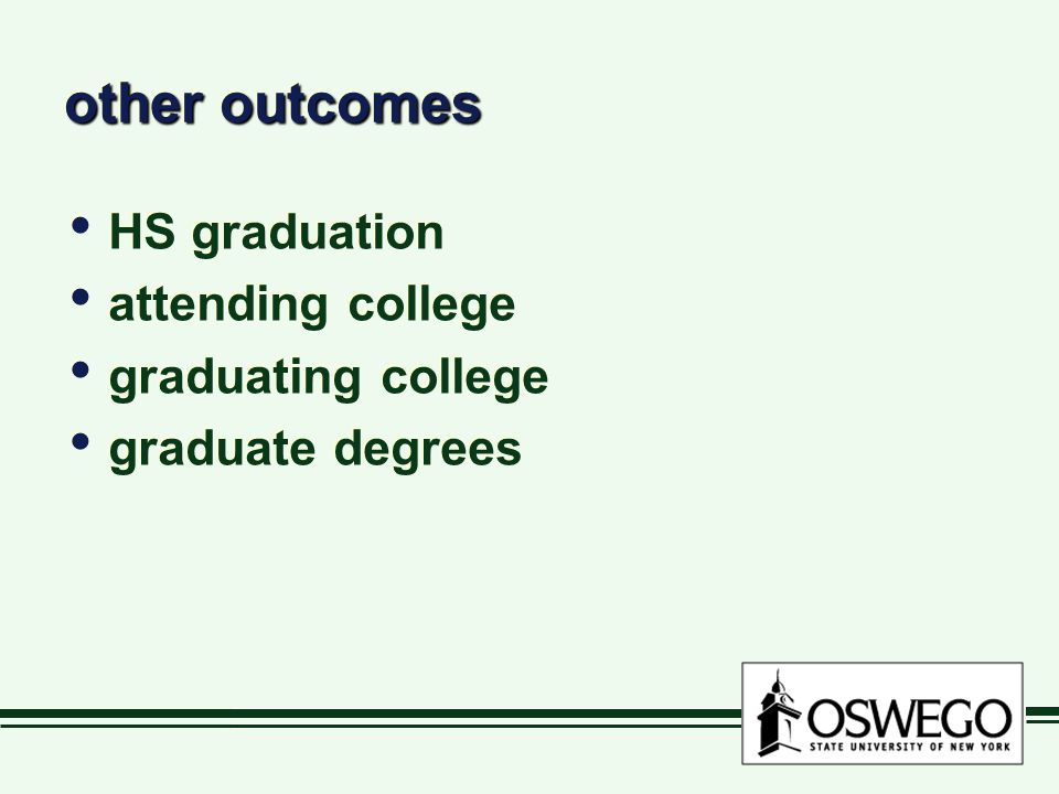 other outcomes HS graduation attending college graduating college graduate degrees HS graduation attending college graduating college graduate degrees