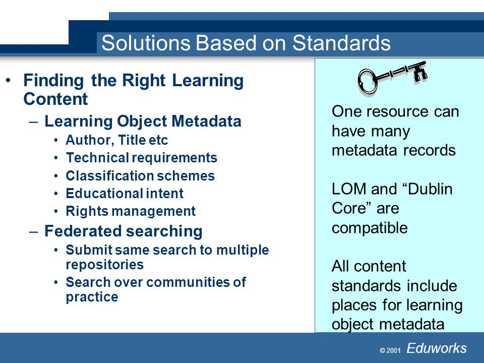 © 2001 Eduworks Solutions Based on Standards Finding the Right Learning Content –Learning Object Metadata Author, Title etc Technical requirements Classification schemes Educational intent Rights management –Federated searching Submit same search to multiple repositories Search over communities of practice One resource can have many metadata records LOM and Dublin Core are compatible All content standards include places for learning object metadata