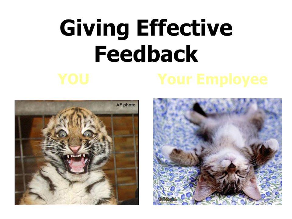 Giving Effective Feedback YOU Your Employee
