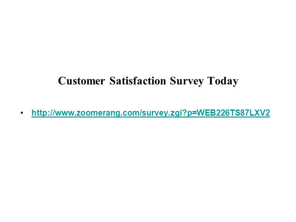Customer Satisfaction Survey Today http://www.zoomerang.com/survey.zgi p=WEB226TS87LXV2