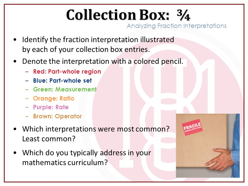 Identify the fraction interpretation illustrated by each of your collection box entries.