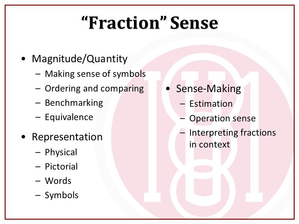 Fraction Sense Magnitude/Quantity –Making sense of symbols –Ordering and comparing –Benchmarking –Equivalence Representation –Physical –Pictorial –Words –Symbols Sense-Making –Estimation –Operation sense –Interpreting fractions in context