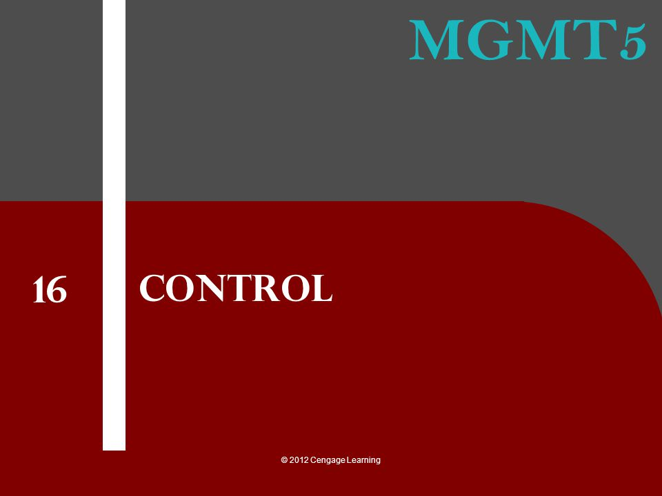 © 2012 Cengage Learning 1.describe the basic control process 2.discuss the various methods that managers can use to maintain control 3.describe the behaviors, processes, and outcomes that today's managers are choosing to control in their organizations