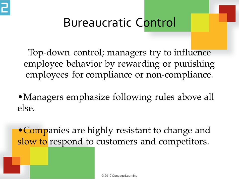 © 2012 Cengage Learning Objective Control The use of observable measures of employee behavior or output to assess performance and influence behavior.