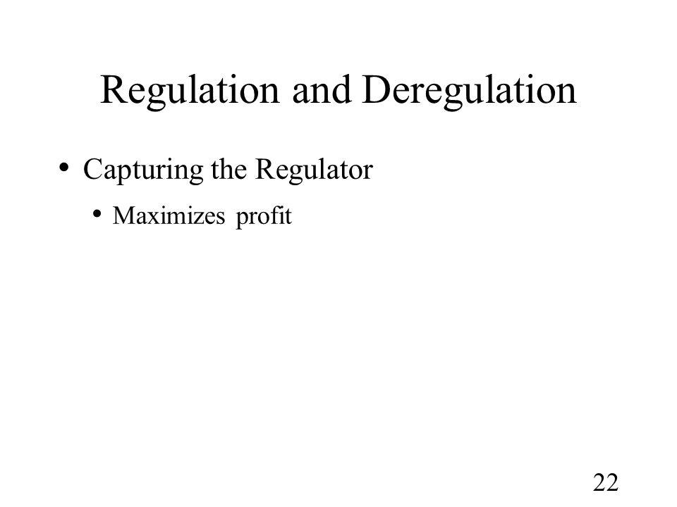 22 Regulation and Deregulation Capturing the Regulator Maximizes profit