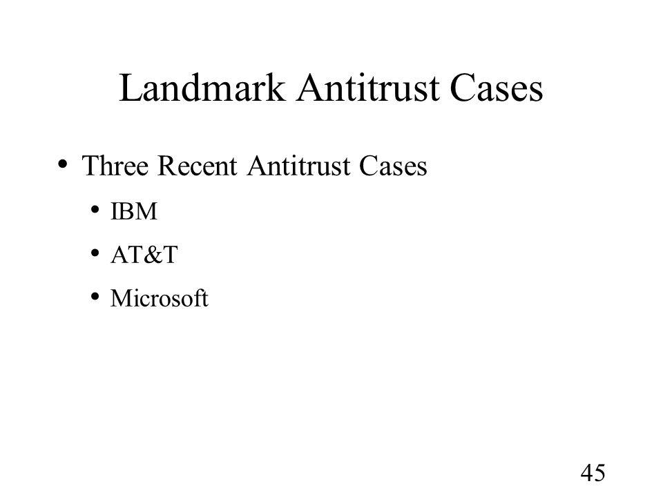 45 Landmark Antitrust Cases Three Recent Antitrust Cases IBM AT&T Microsoft