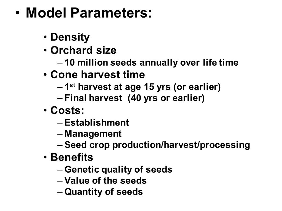 Model Parameters: Density Orchard size –10 million seeds annually over life time Cone harvest time –1 st harvest at age 15 yrs (or earlier) –Final harvest (40 yrs or earlier) Costs: –Establishment –Management –Seed crop production/harvest/processing Benefits –Genetic quality of seeds –Value of the seeds –Quantity of seeds