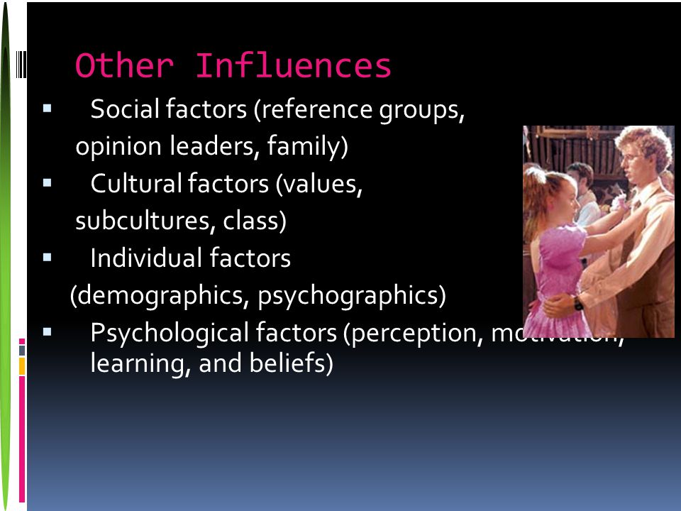 Other Influences  Social factors (reference groups, opinion leaders, family)  Cultural factors (values, subcultures, class)  Individual factors (demographics, psychographics)  Psychological factors (perception, motivation, learning, and beliefs)