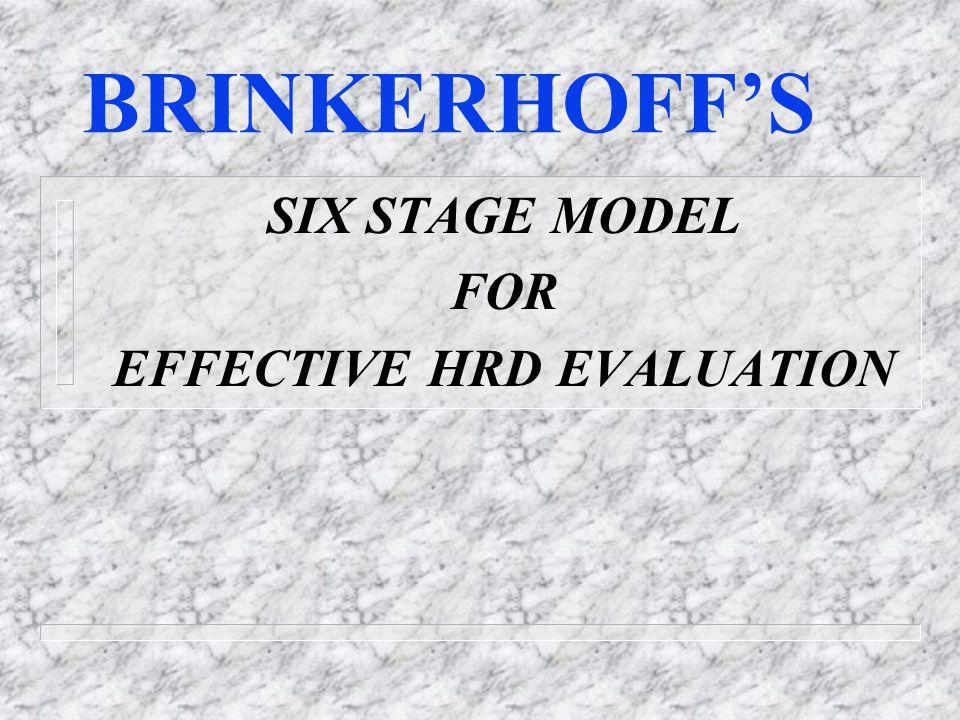 BRINKERHOFF'S SIX STAGE MODEL FOR EFFECTIVE HRD EVALUATION