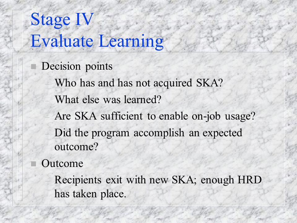 Stage IV Evaluate Learning n Decision points – Who has and has not acquired SKA.