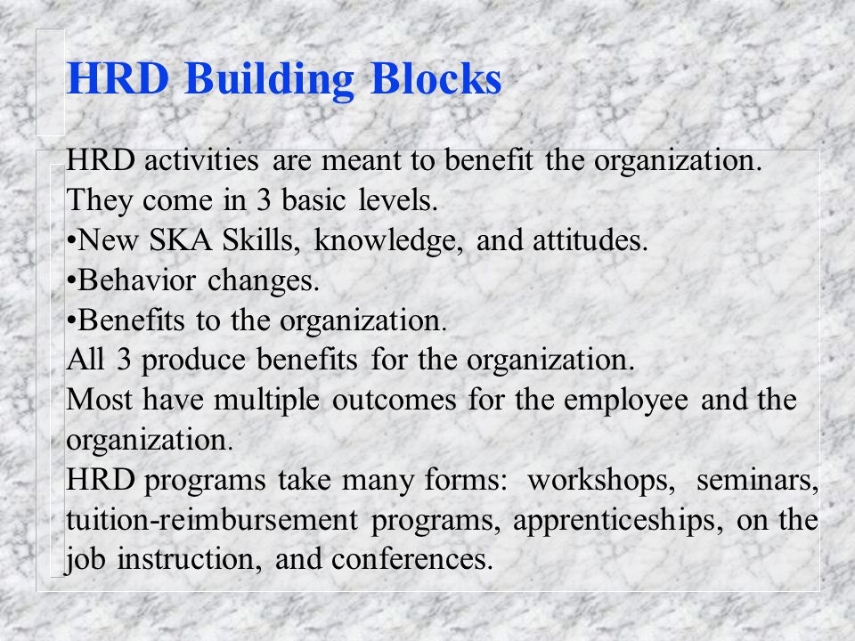 HRD Building Blocks HRD activities are meant to benefit the organization.
