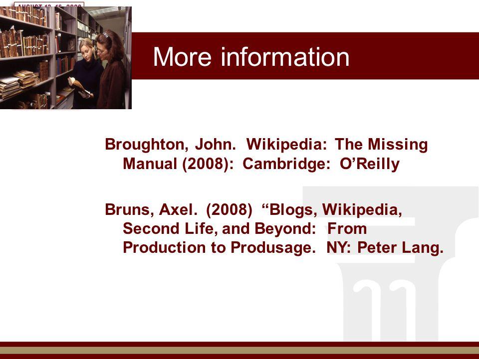 More information Broughton, John.