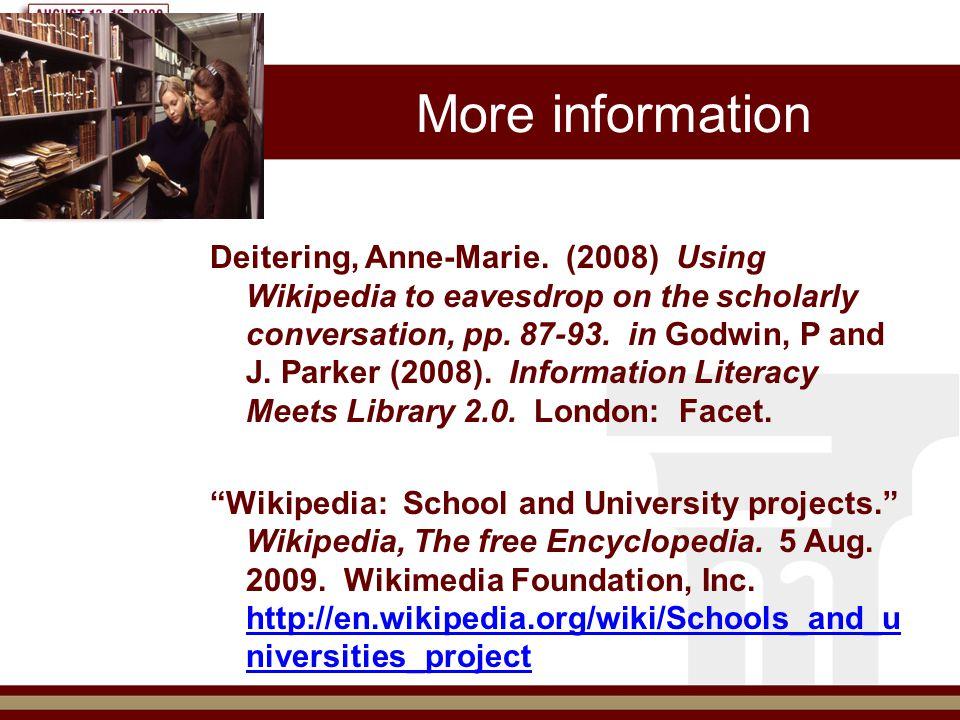 More information Deitering, Anne-Marie.