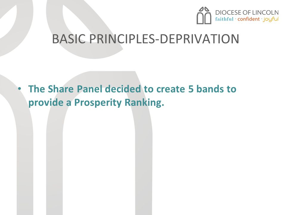 BASIC PRINCIPLES-DEPRIVATION The Share Panel decided to create 5 bands to provide a Prosperity Ranking.