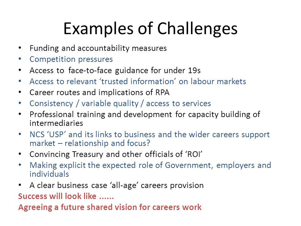 Examples of Challenges Funding and accountability measures Competition pressures Access to face-to-face guidance for under 19s Access to relevant 'tru
